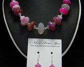 Ruby Agate Necklace & Earrings