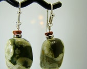 SALE, Rhyolite Nugget Earrings on sterling silver earwires and copper accents