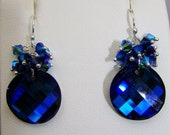 Bermuda Blue Swarovski Crystal Twist Earrings Stunning