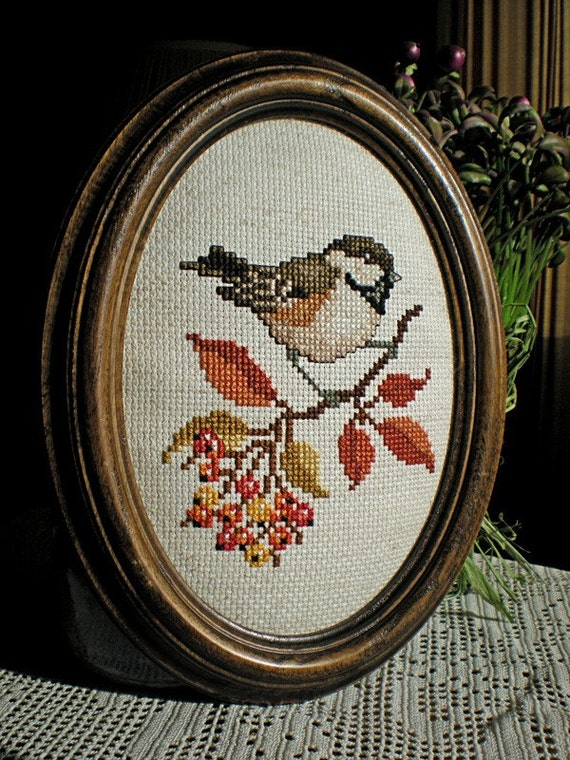 Framed Chickadee Cross Stitch