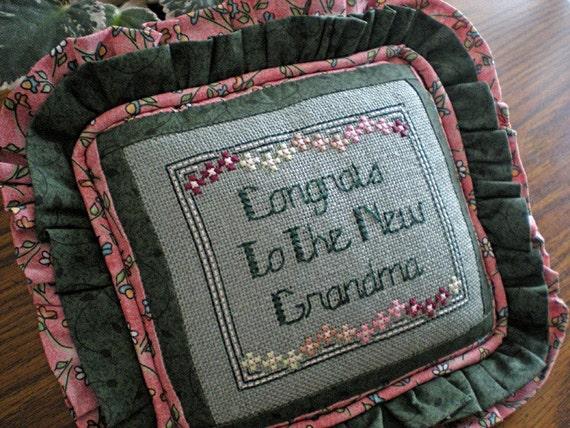 Small Cross Stitch New Grandma Pillow