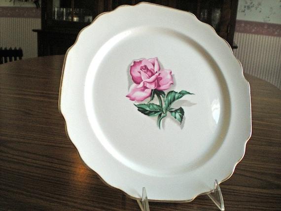 Rose Plate, Dinner Plate, Gold Rimmed, Gold Gilded, Vintage Serving, Pink Rose, Floral Dish, W. S. Georg, Gift For Her, Pink Dinnerware