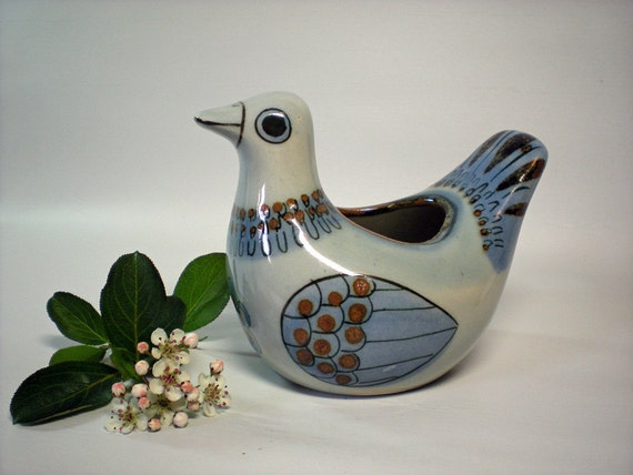 Wide Eyed Blue and Brown Ceramic Bird Planter from Mexico