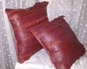 Home decor pillows brown leather upcycled  One of a kind set