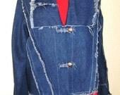 Blue jean jacket  women denim unique art wear.