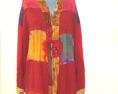 Womens kimono rust jacket  patchwork with raw seams
