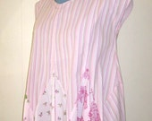 Blouse womens pink hankerchief hemline in cool cotton recycled