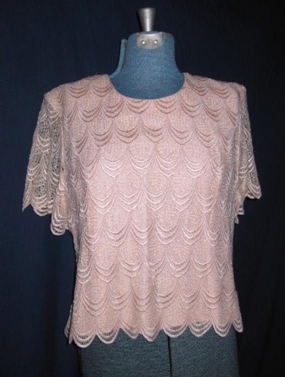 Women blouse peach vintage 80s great condition