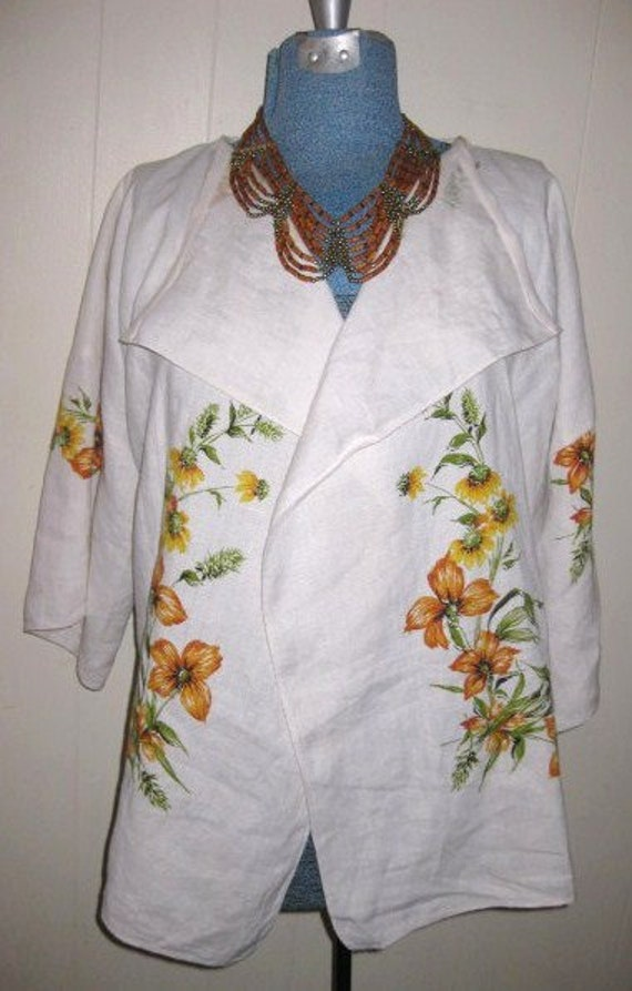 Womens jacket  white recycled vintage fabric artistic   Summer sale cut 20 dollars