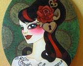 Romantico sin Esperanza, Hopeless Romantic Tattooed Pin-up Oval  Original Painting