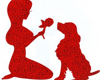 English Springer Spaniel and Pin Up Silhouette, Red Glitter Vinyl Decal, Russian Spaniel, German Spaniel, American Water Spaniel