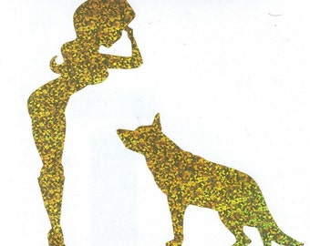 German Shepherd and Army Pin Up Silhouette, Gold Glitter Vinyl Decal