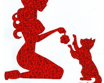 Kitty and Pin Up Silhouette,  Red Glitter Vinyl Decal