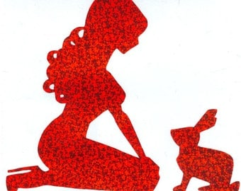 Rabbit and Pin Up Silhouette, Red Glitter Vinyl Decal