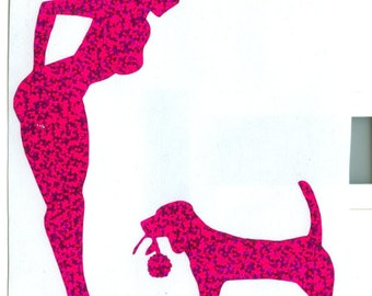 Beagle and Pin Up Silhouette, Purple Glitter Vinyl Decal