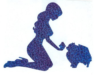 Pomeranian and Pin Up Silhouette, Blue Glitter Vinyl Decal