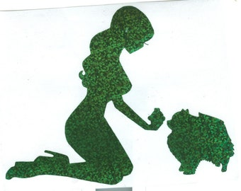 Pomeranian and Pin Up Silhouette, Green Glitter Vinyl Decal