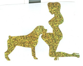 Rottweiler and Pin Up Silhouette, Gold Glitter Vinyl Decal
