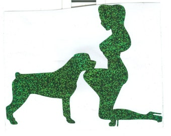 Rottweiler and Pin Up Silhouette, Green Glitter Vinyl Decal