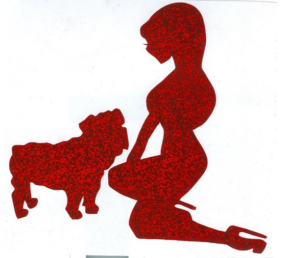 Bulldog and Pin Up Silhouette, Red Glitter Vinyl Decal