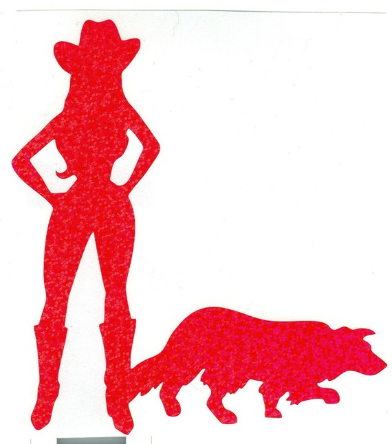 Border Collie and Cowgirl Pin Up Silhouette, Pink Glitter Vinyl Decal