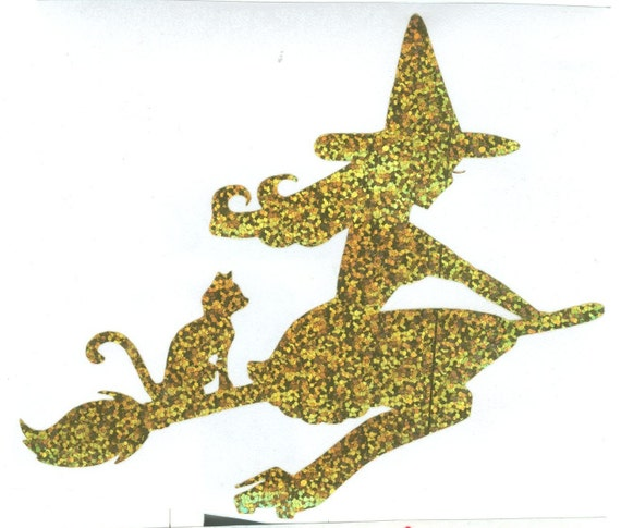 Cat and Pin Up Witch Silhouette, Gold Glitter Vinyl Decal