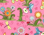 Moda Meadow Friends Bird's and Butterfly Posie Pink
