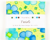 Moda Twirl Charm Pack 42- 5X5 inch squares -- Bright florals, swirls, butterflies, dots, stripes -- buy more and save