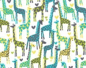 Michael Miller Giraffe Love in Lagoon fabric