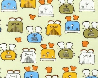 Robert Kaufman -Metro Cafe - Toasters by Monoluna, out of print, by the yard, kitchen fabric, apparel fabric, apron fabric, toast, toaster