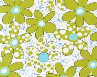 Chartreuse and Aqua flower fabric Daisies and Dots by Pieces O' Cake Designs for Robert Kaufman