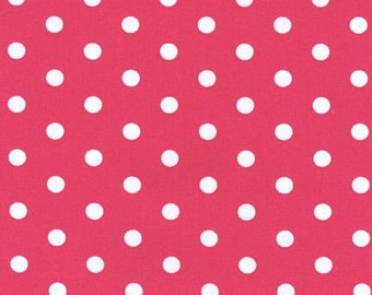 End of Bolt  1/2 yard  Hot Pink with White Dots Pimatex basic fabric by Robert Kaufman