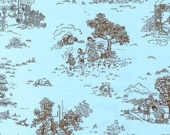 Aqua and Brown Toile fabric by Robert Kaufman