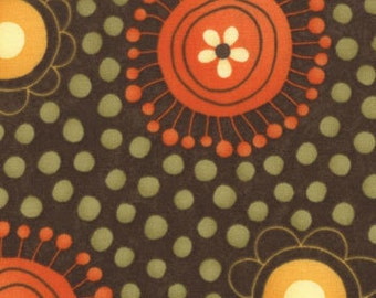 Grand Finale Walnut Brown Flower Dots fabric by Sandy Gervais for Moda Fabrics