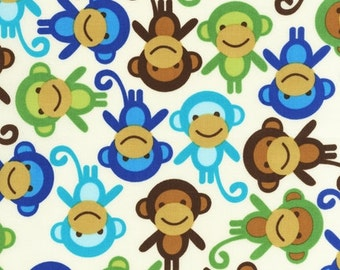 End of Bolt 7/8 yards   Monkeys in blue, green, and Brown by Ann Kelle from Urban Zoologie for Robert Kaufman Fabric