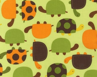 Turtles in Orange, Green, and Brown by Ann Kelle from Urban Zoologie for Robert Kaufman Fabric