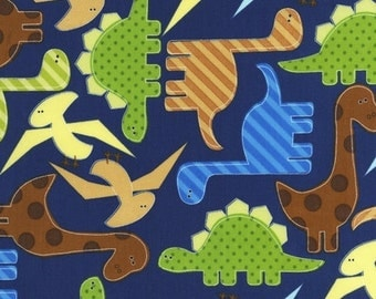 Blue Dinos  by Ann Kelle from Urban Zoologie for Robert Kaufman Fabric