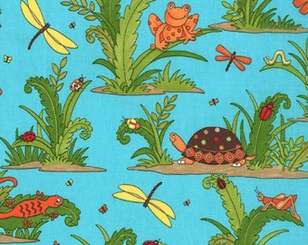 Moda Meadow Friends Pond Friends Blue, turtles dragonflies, frogs, pond critters