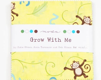 Moda - Grow with Me - Charm Pack--monkeys, footprints, trees, chicks, trucks, stripes -- 37  5X5 squares