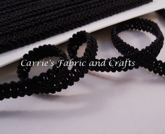 90 cents/yard -- 3 yards Black Gimp Trim 1/2 inch -- Home Decor Weight -- Great for  Wipe Cases