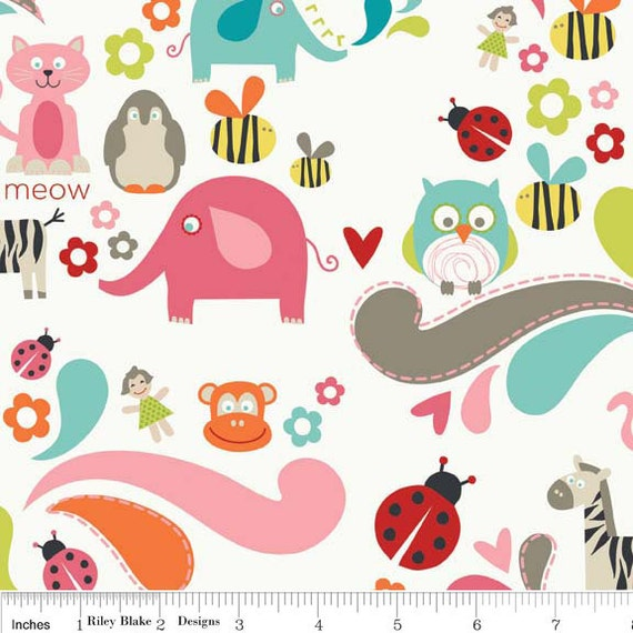 "Girl Main -- Pink Elephants, owls, bees, kittys, zebras and more   -- Riley Blake Designs ""Alphabet Soup"" by Zoe Pearn for My Minds"