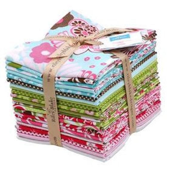 Riley Blake -  Dainty Blossoms - Fat Quarter Set -- pinks, green, brown, aqua floral stripes dots