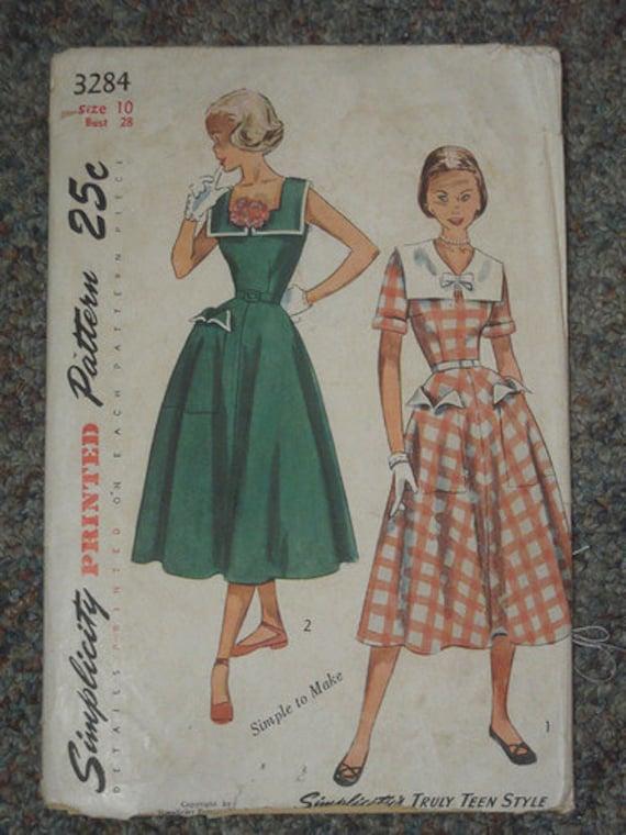 CIJ -SALE 1950 Simplicity Dress Pattern 3284