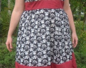 Black and White Floral with Red Summer Dress, Below the Knee (Plus Size) Store Opening Sale