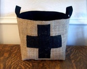 Large Coffee Sack Basket - Black Swiss Cross
