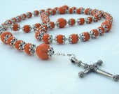 Rosary with Silver Plated Bead Caps on EACH Bead