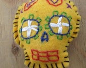 Orange Day Of THe Dead Skull Pin Cushion Plushie Felt Check It Out
