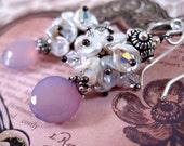Silver Pearl Earrings Dangle Earrings Pink Earrings