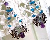 Sterling Silver Amethyst Earrings Gemstone Jewelry Mystic Topaz Dangles
