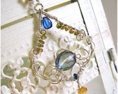 Silver Gemstone Necklace Citrine Sapphire Kyanite Mystic Topaz Sterling Necklace